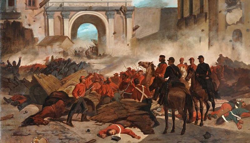 """""""Garibaldi a Palermo"""". Dipinto di Giovanni Fattori."""