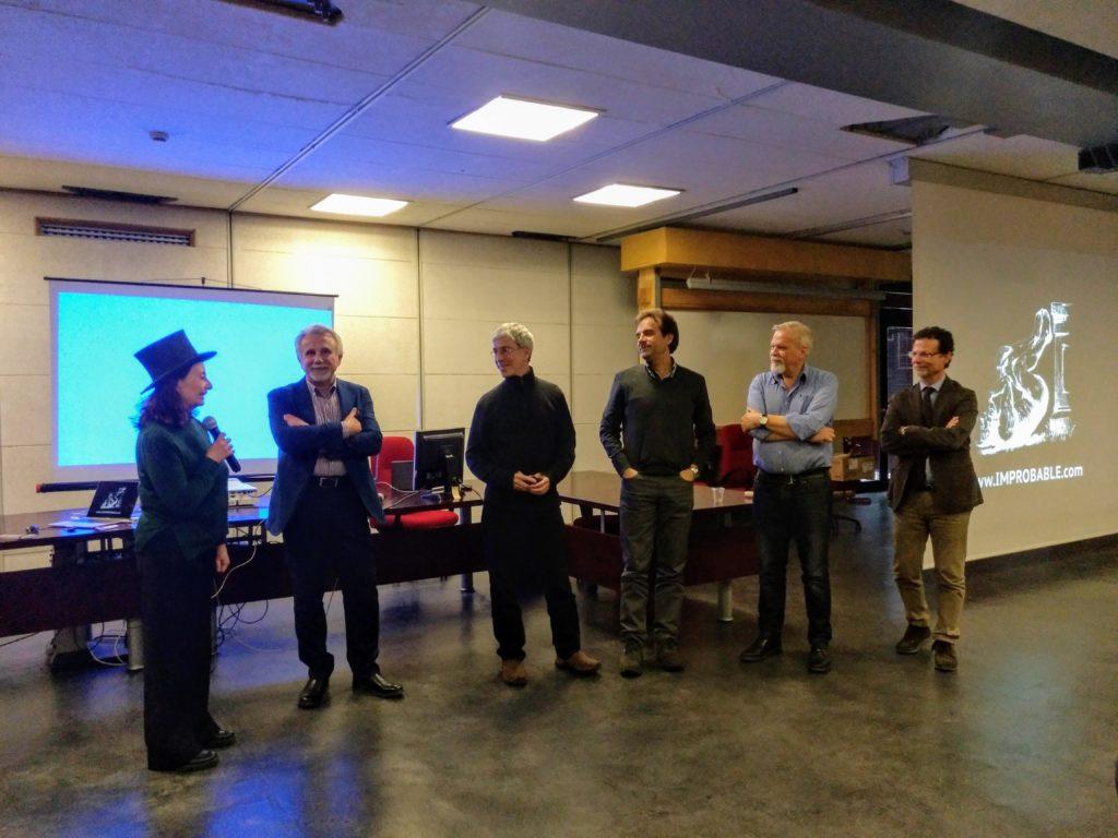 Da sinistra: Alessia Tricomi, Andrea Rapisarda, Marc Abrahams, Alessandro Pluchino, Valerio Pirronello, Francesco Priolo