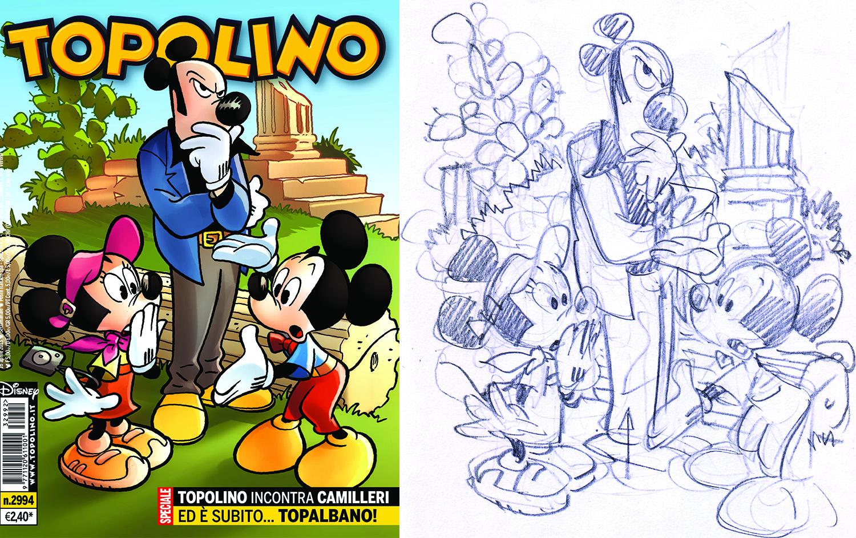 La copertina di Tobalbano e il bozzetto (di Giorgio Cavazzano)