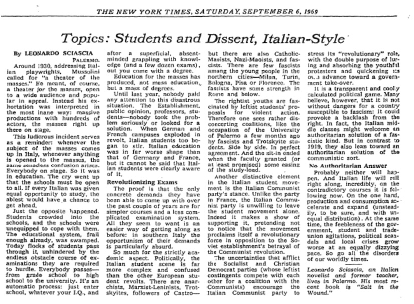 Students and Dissent, Italian-Style